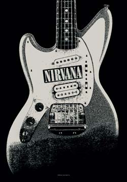 Nirvana- Guitar Fabric Poster/Wall Tapestry