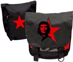 Che Guevara- Face embroidered on front, Red Star on back of a black messenger bag (Sale price!)