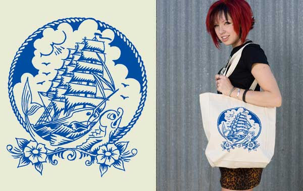 Tall Ships tote bag by Lucky Mule