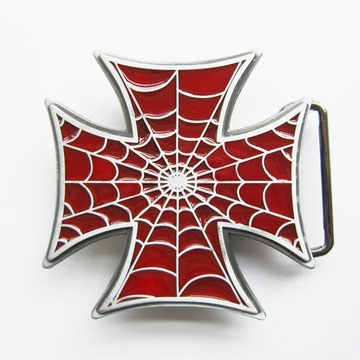 Red Iron Cross With Spiderweb belt buckle (bb134)