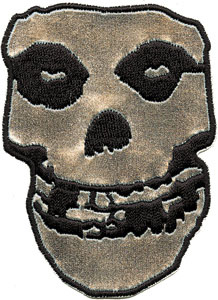 "Misfits- Silver Pleather Skull 10"" embroidered patch"