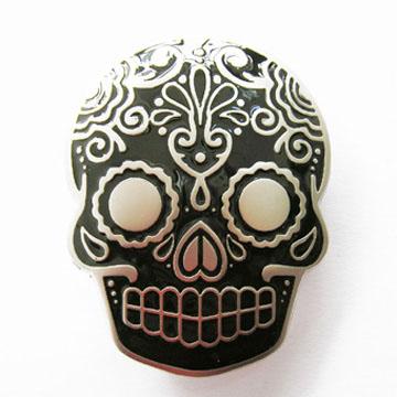 Sugar Skull (Black) belt buckle (bb332)