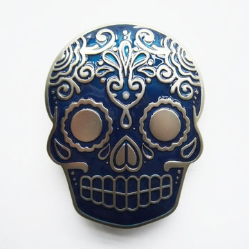 Sugar Skull (Blue) belt buckle (bb175)