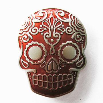 Sugar Skull (Red) belt buckle (bb333)