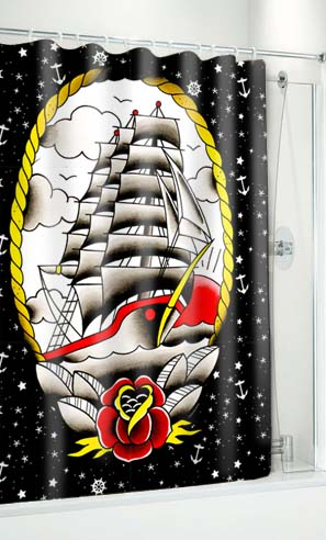 Sourpuss Clipper Ship Shower Curtain