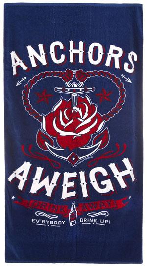 Anchors Aweigh Beach Towel by Sourpuss