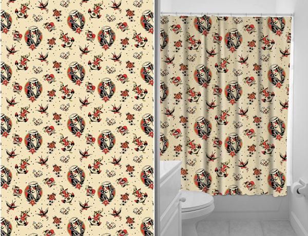Sourpuss Lost Love Flash Print Shower Curtain
