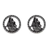 Stud Post Earrings by Sourpuss- Silver Tall Ships - SALE