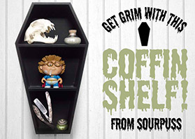 Black 3 Tier Coffin Shelf by Sourpuss