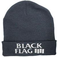 Black Flag- Bars & Logo embroidered on a cuffed black beanie