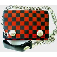 Checkerboard Chain Wallet- Red & Black