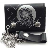 Jesus With Cross on a black leather wallet (Comes with chain)