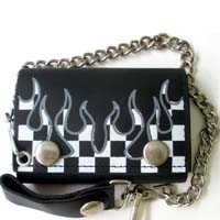 Flame Wallet- Black Leather Wallet with Checkerboard Flames (Comes With Chain)