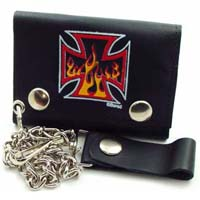 Flaming Iron Cross Wallet (Comes with chain)