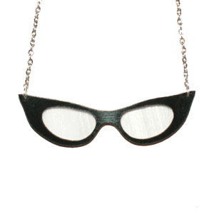 Recycled Record Vinyl Necklace by Vling- Rockabilly Cat's Eye Glasses - SALE