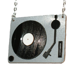 Recycled Record Vinyl Necklace by Vling- Turntable - SALE