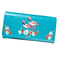 Flamingo Large Girls Wallet/Clutch by Banned Apparel - in Teal Blue