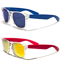 Sunglasses- CLEAR WITH COLORED ARM (Various Colors!)