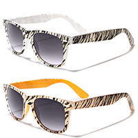 Budget Sunglasses- WHITE ZEBRA WITH INNER COLOR (Various Colors!)