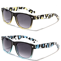 Sunglasses- BLACK WITH COLORED LEOPARD ARM (Various Colors!)