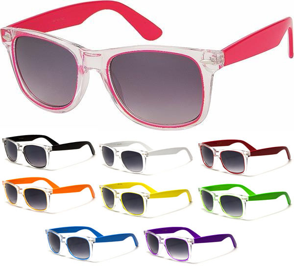 Sunglasses- CLEAR WITH COLOR (Various Colors!)