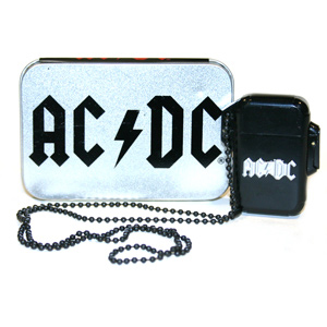 AC/DC- Logo re-fillable lighter/necklace with chain (Comes in an AC/DC tin)
