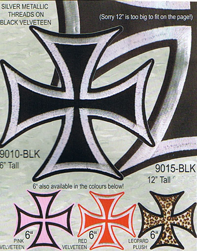 "Pink Iron Cross 6"" embroidered patch (Large velveteen patch!) (Sale price!)"