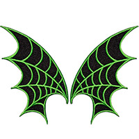 Web Wings - Embroidered Patch Set by Kreepsville 666 - in green (EP856)