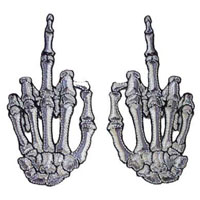 Small White Bone Middle Finger Skeleton Hand Embroidered Patch Set by Kreepsville 666 (ep481)