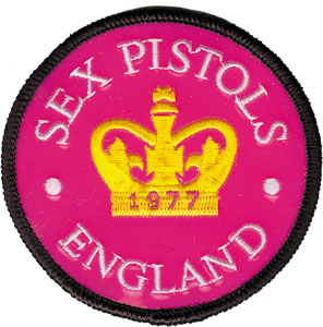 Sex Pistols- England (Crown) Pink Patent embroidered patch (ep303)