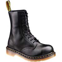 10 Eye Black Fine Haircell Steel Toe Dr. Martens Boots