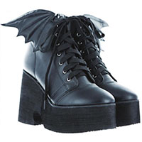 Bat Royalty Bat Wing Boot by Iron Fist & Ash Costello - in black - SALE sz 7 only