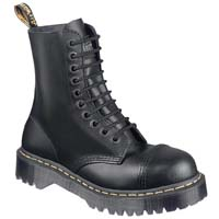 10 Eye Black Fine Haircell Steel Toe With Black Sole And Stitched Toe Dr. Martens Boot