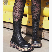 Emily 350 Leopard Platform Combat Boot by Demonia Footwear - in Black