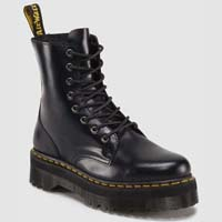 Jadon 8 Eye Thick Sole Side Zip Dr. Martens Boots- Black Smooth