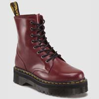 Jadon 8 Eye Thick Sole Side Zip Dr. Martens Boots- Cherry Smooth (Sale price!)