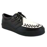 Black & White Leather creeper style sneaker by Tred Air UK