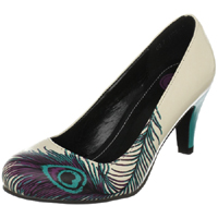 Peacock Feather Heel in Cream & Turquoise by Tred Air UK