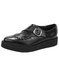 Black Leather Pointed Lo Sole Monk Creeper by Tred Air UK (Sale price!)