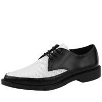 Black & White Perforated 3 Eye Pointed Toe Jam Shoe by Tred Air UK
