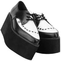 Black & White Leather Pointed Stacked Creeper by Tred Air UK (Sale price!)