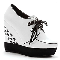 Wedge Creeper by Bettie Page Shoes by Ellie - in White - SALE