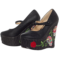 Calavera Closed Toe Wedge by Bettie Page Shoes by Ellie - in Black - SALE