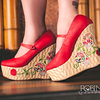 Calavera Closed Toe Wedge by Bettie Page Shoes by Ellie - in Red - SALE