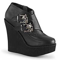 Wedge Monk Creeper with Skull Buckles by Demonia Footwear - in Solid Black - SALE