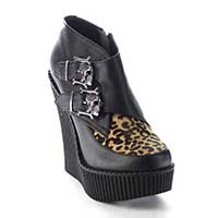 Wedge Monk Creeper with Skull Buckles by Demonia Footwear - in Black/Leopard