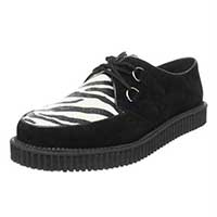 Black Suede & Zebra Creeper by Demonia Footwear - SALE