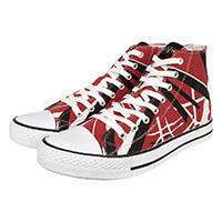 Van Halen- EVH Hi Top Canvas Sneakers in BLACK/RED