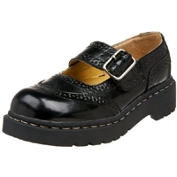 Black Leather Brogue Mary Janes by Anarchic