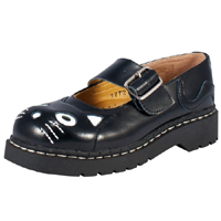 Black Leather With Black Cat Head Mary Janes by Anarchic